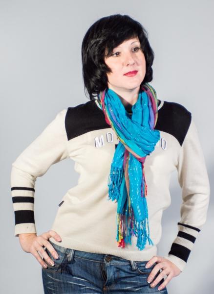 Женский шарф весна-лето ярко-голубой гофрированный  ASHMA