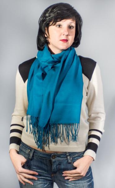 Женский шарф-палантин синий зима-весна-осень  ASHMA
