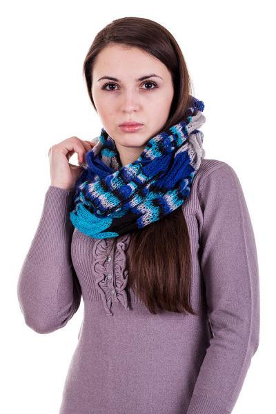 Женский шарф-снуд теплый цветной крупная вязка  Lafeny