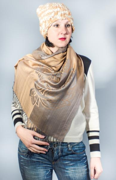 Женский шарф весна-осень песочно-серый  Butef