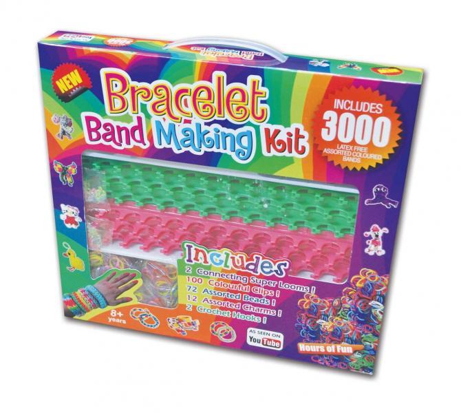 Резиночки для плетения браслетов Rainbow loom набор (3000шт, станок, подвески, крючки, замки, бусины
