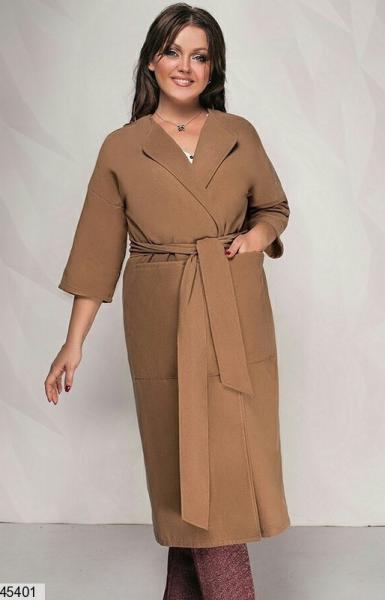 Женское пальто кашемировое кофейное большие размеры: 50-52,54-56,58-60