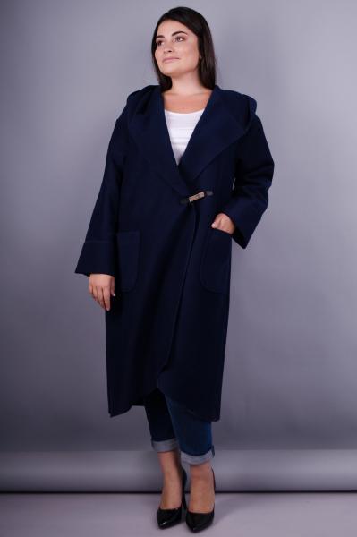 Женское пальто-кардиган больших размеров. синий. размеры:50-64