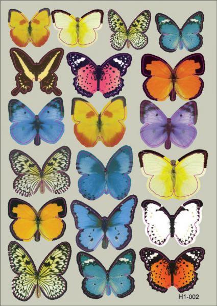Интерьерная наклейка на стену бабочки 3д 3D разноцветные (набор h1-002)