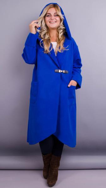 Женское пальто-кардиган больших размеров. электрик. размеры:50,52,62,64