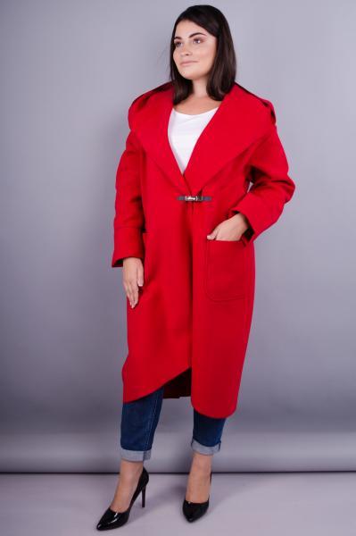 Женское пальто-кардиган больших размеров. красный. размеры:50-64