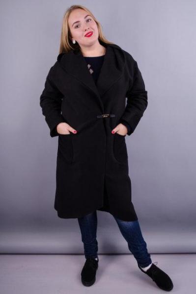 Женское пальто-кардиган больших размеров. черный. размеры:50,52,54,60,64
