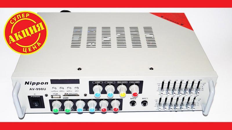 Усилитель Nippon AV-998U + КАРАОКЕ 2микрофона