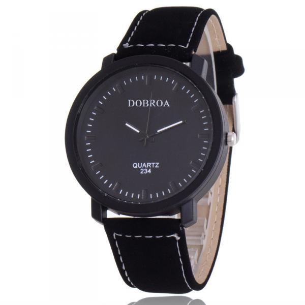 Мужские часы Dobroa черные (эко замш) 144-2