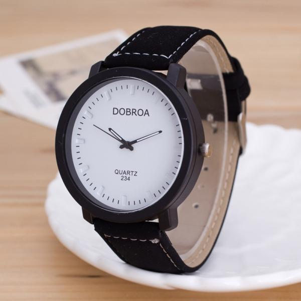 Мужские часы Dobroa белые (эко замш) 144-3
