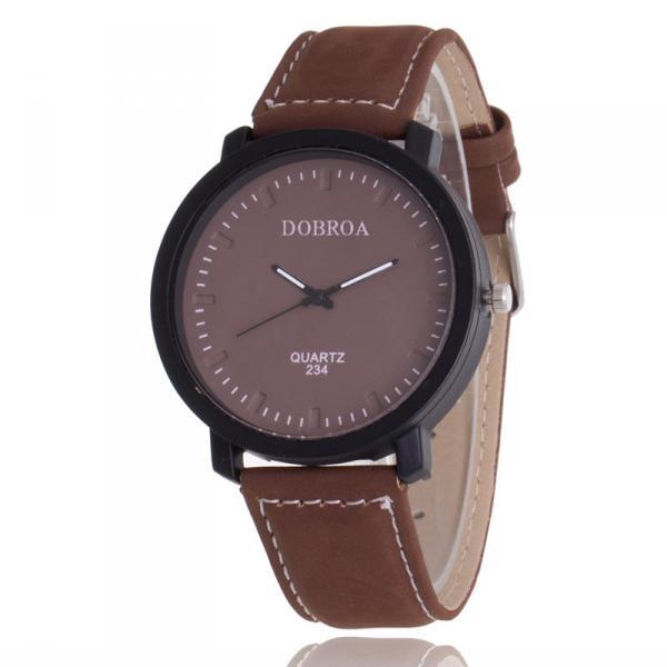 Мужские часы Dobroa коричневые (эко замш) 144-1
