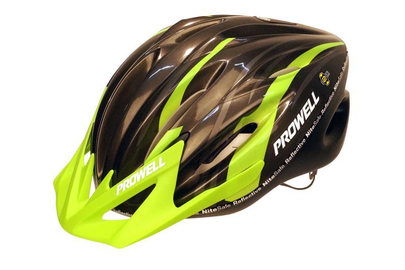 Шлем велосипедный PROWELL F-22 Raptor черно-зеленый M