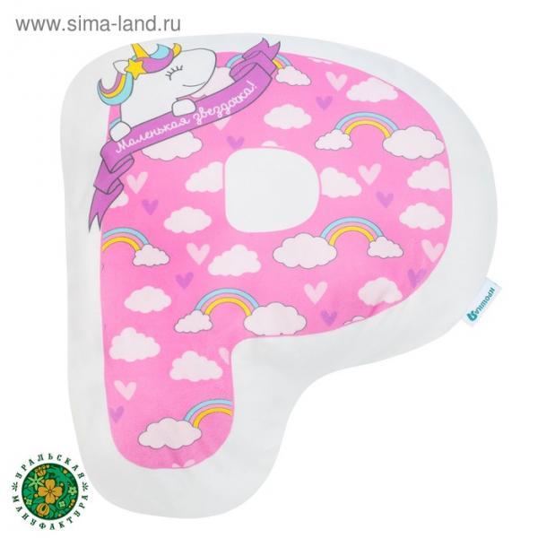"""Подушка """"Крошка Я"""" Р, 46х32 см, розовый, велюр, 100% п/э"""