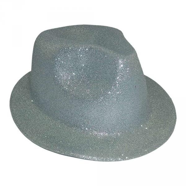 Шляпа детская Мафия блестящая серебро