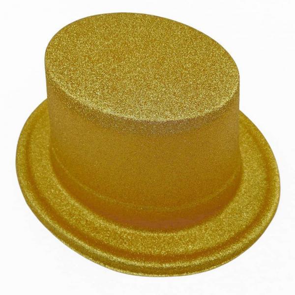 Шляпа детская Цилиндр блестящая золото
