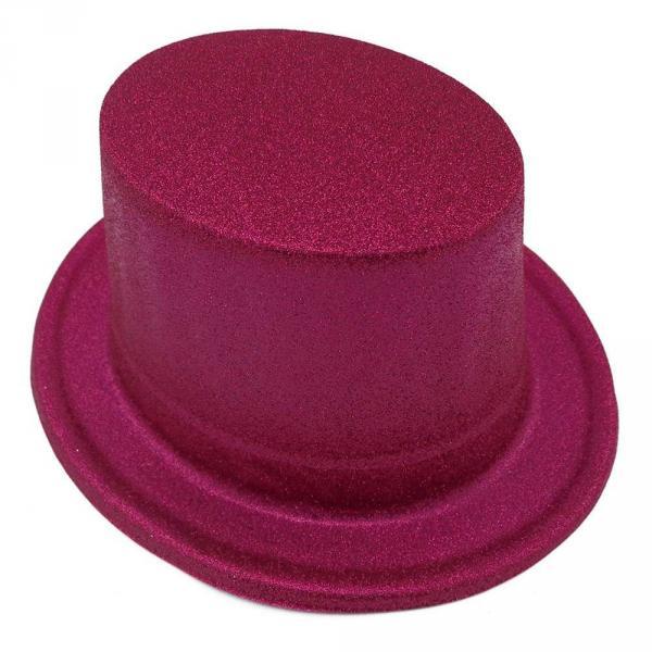 Шляпа детская Цилиндр блестящая малиновая