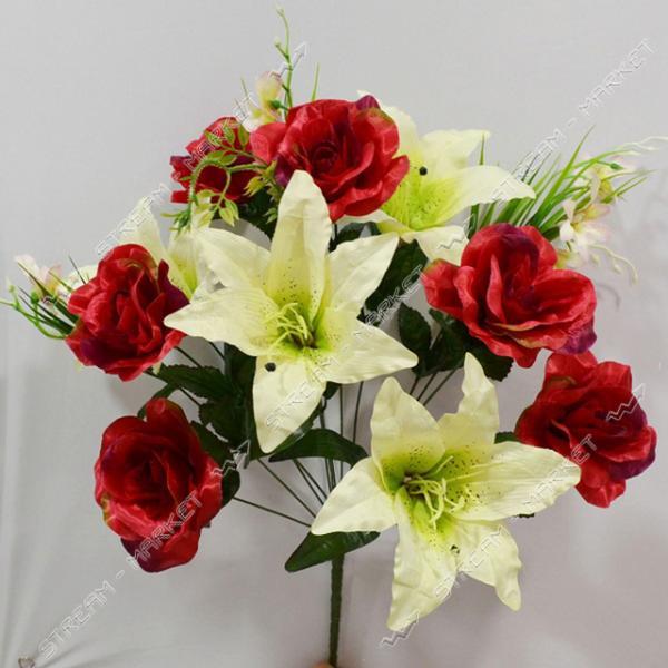 Букет искусственный Роза Лилия 14 голов высота 560мм