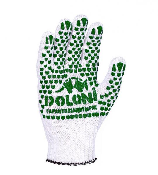 Перчатки рабочие DOLONI с ПВХ нанесением (отбеленные)