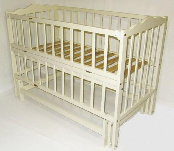 Детская кровать Веселка шарнир/подшипник откидной бортик слоновая кость