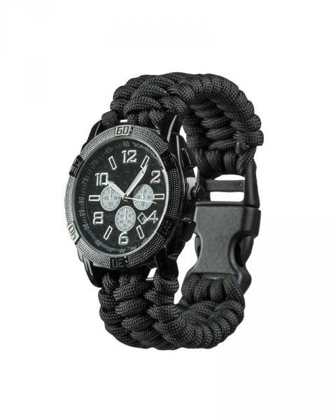 Часы водонепроницаемые армейские MIL-TEC ARMY UHR PARACORD Black (15774002)