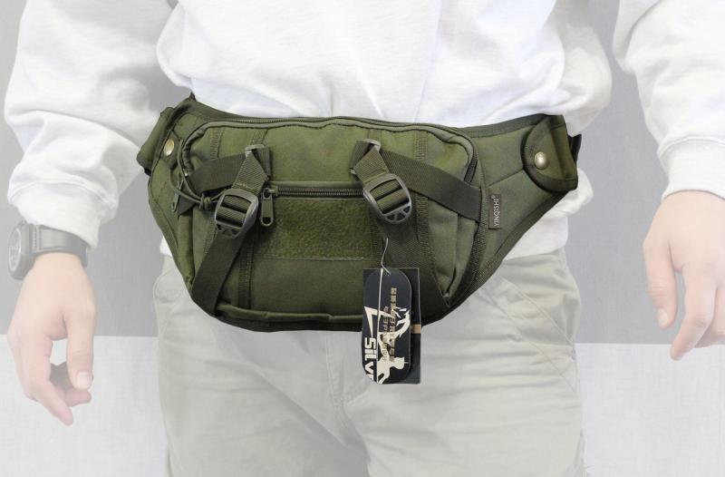 Тактическая поясная сумка с отделением под пистолет Олива
