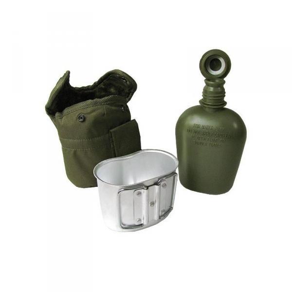 Армейская фляга с подстаканником USA Mil-tec в чехле (0.8 L) Olive (14506001)