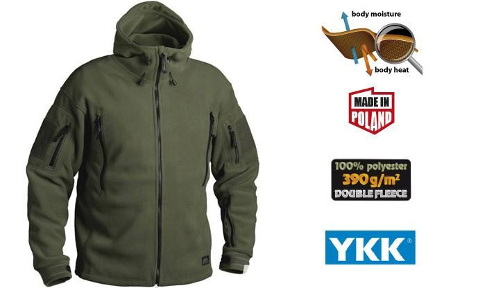 Флисовая кофта с капюшоном Helikon-Tex Patriot Heavy Fleece Jacket-Olive Green