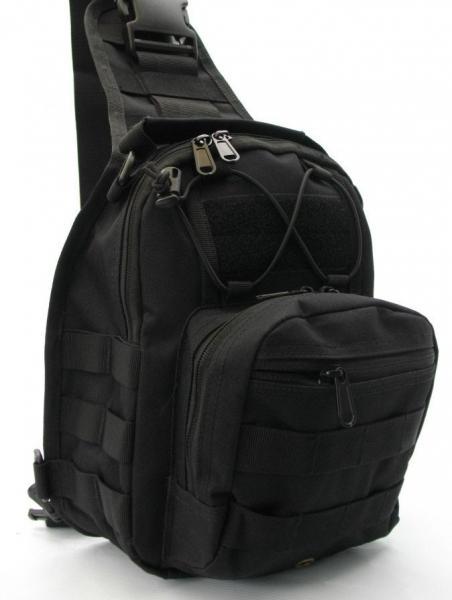 Тактический рюкзак однолямочный Silver Knight с системой M.O.L.L.E Black (098)