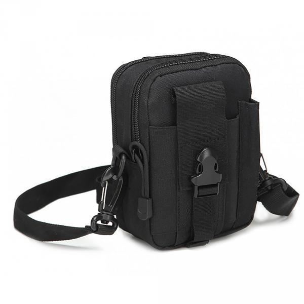 Тактическая универсальная (поясная) сумка - подсумок с ремнём Mini warrior с системой M.O.L.L.E (с101 черная)