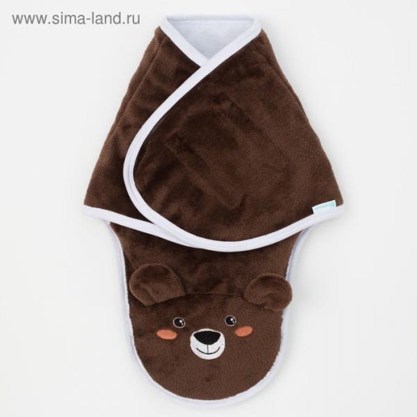 """Конверт-одеяло Крошка Я """"Бурый мишка"""", коричневый, рост 50-56 см"""