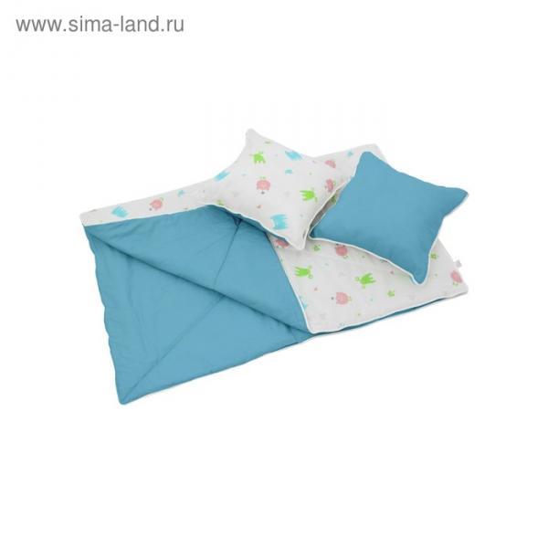 Комплект для вигвама: одеяло-110х140 см, наволочка-40х40 см-2 шт, голубой, монстрики