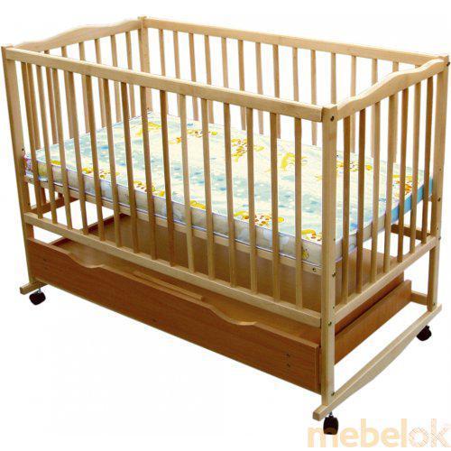 Детская деревянная кроватка (бук) с ящиком