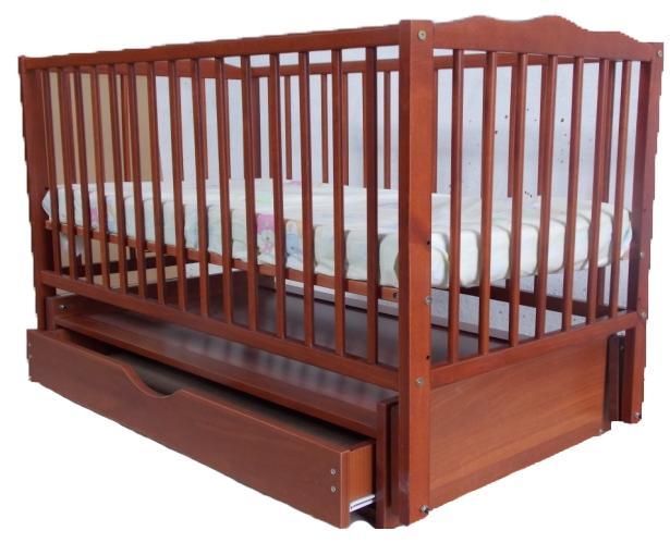 Детская деревянная кроватка (бук) на маятнике с ящиком