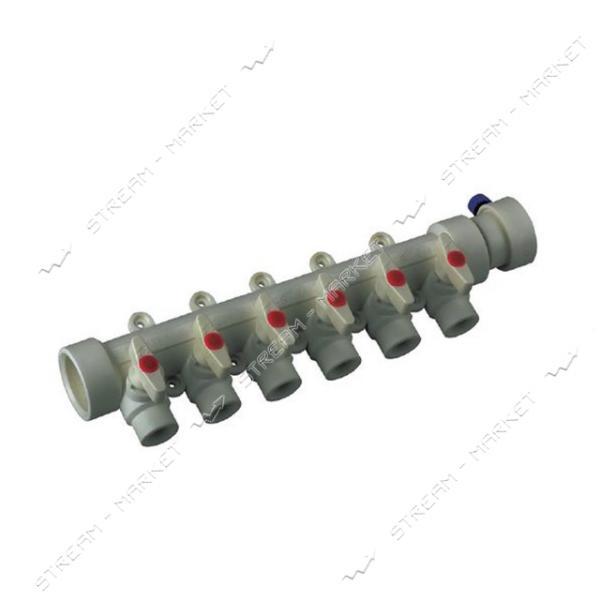 Коллектор полипропиленовый 6-way с шаровыми кранами 40x20 KOER