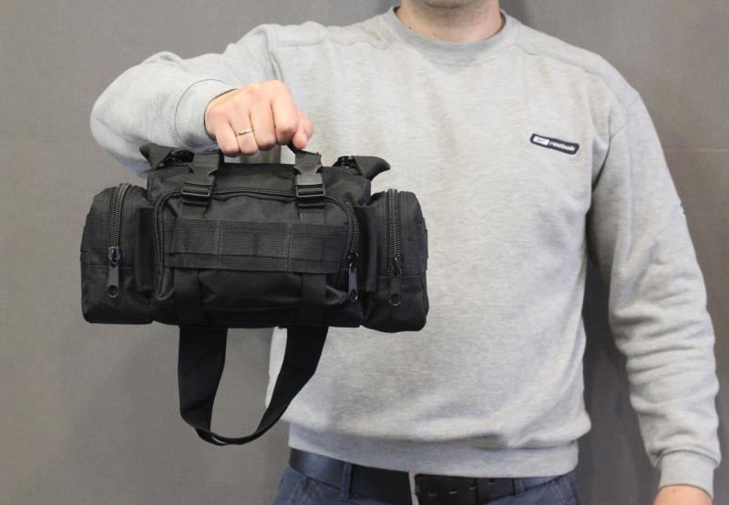Тактическая универсальная (поясная, наплечная) сумка с системой M.O.L.L.E Black (104 черная)