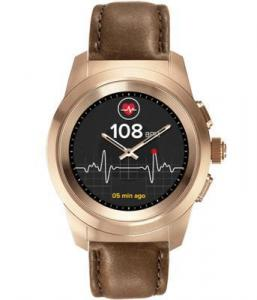 Фото  Гибридные смарт часы MyKronoz ZeTime Premium Regular цвет матовое розовое золото, кожаный ремешок цвет коричневый винтаж