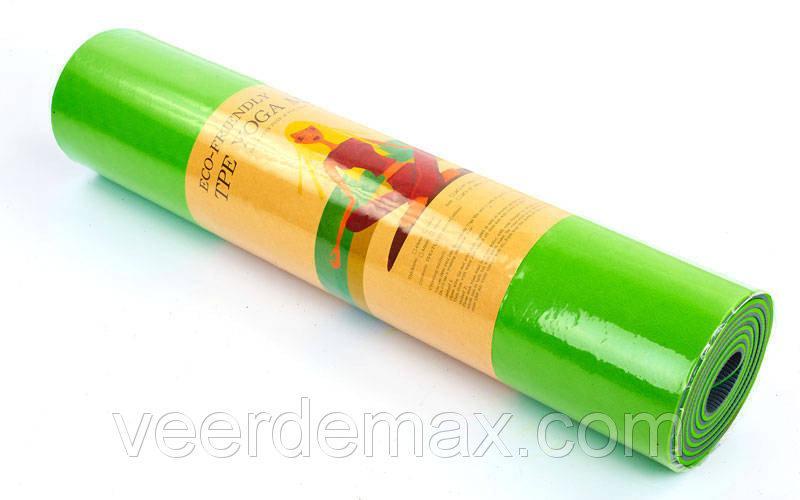 Коврик для йоги и фитнеса Yoga mat 2-х слойный TPE+TC 6mm FI-3046-11 ( 1.83*0.61*6mm) салатовый-зеленый