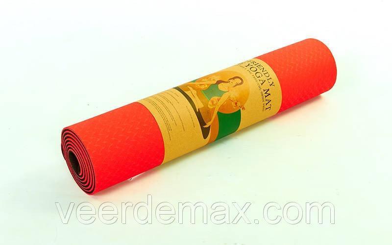 Коврик для йоги и фитнеса Yoga mat 2-х слойный TPE+TC 6mm FI-3046-2 ( 1.83*0.61*6mm) красный-черный