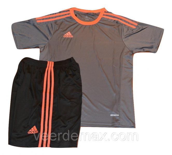 Футбольная форма игровая Adidas ( цвет - серый+оранж)  XL (р.48-50 рост 175-181 см)