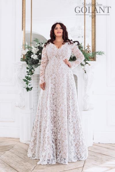 Кружевное свадебное платье с рукавами Капучино