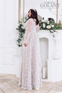 Фото Свадебные платья Кружевное свадебное платье с рукавами Капучино