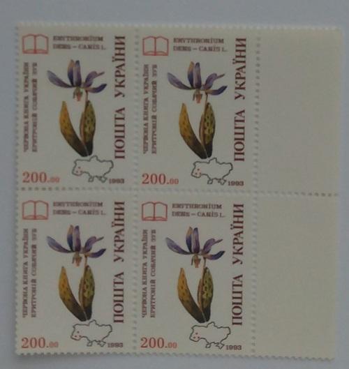 Фото Почтовые марки Украины, Почтовые марки Украины 1994 год 1994 № 53 квартблок почтовых марок Цветы Собачий зуб Флора