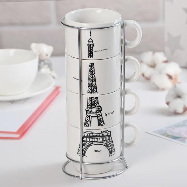 "Набор кружек 180 мл ""Париж"", 4 шт, на подставке, цвет МИКС"