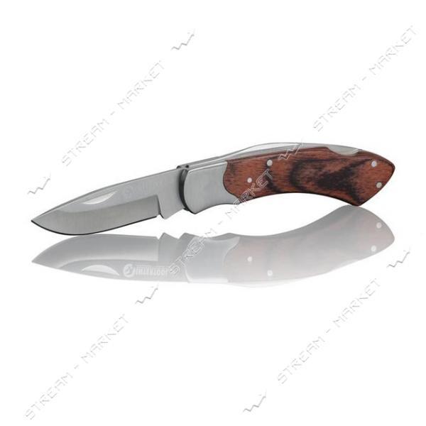 Нож INTERTOOL HT-0594 складной ручка с деревянными вставками