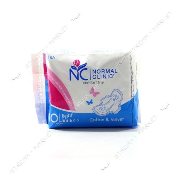 Гигиенические прокладки Normal Clinic Comfort Ultra Cotton & Velvet 3 капли 10шт