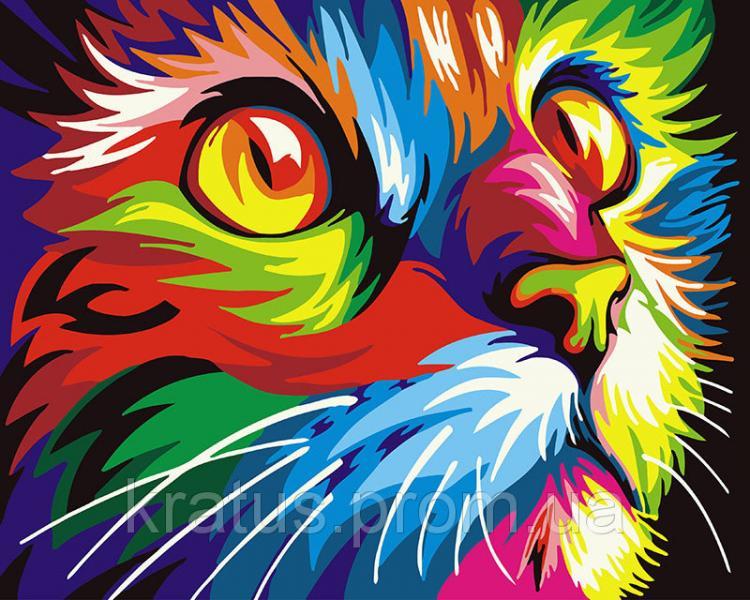 "GX 26192 ""Радужный кот""  Роспись по номерам на холсте 40х50см без коробки, в пакете"