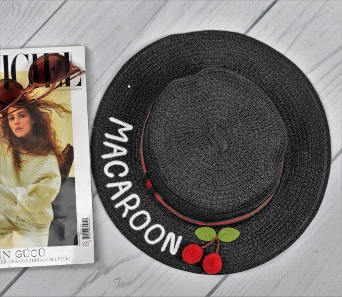 Женская соломенная шляпа Macaroon черного цвета с вишенками.