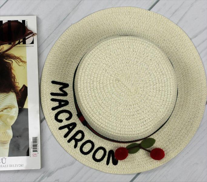 Женская соломенная шляпа Macaroon молочного цвета с вишенками.