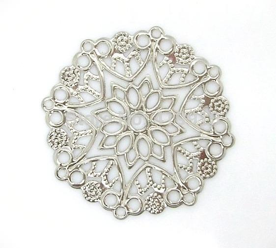 Фото Серединки ,кабашоны, Кабашоны, камеи Металическая  филигрань  3,5 * 3,3 мм.    Серебряного  цвета .