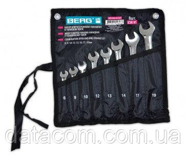 Набор ключей рожково-накидных в тканевом чехле Cr-V  (8-24мм) BERG